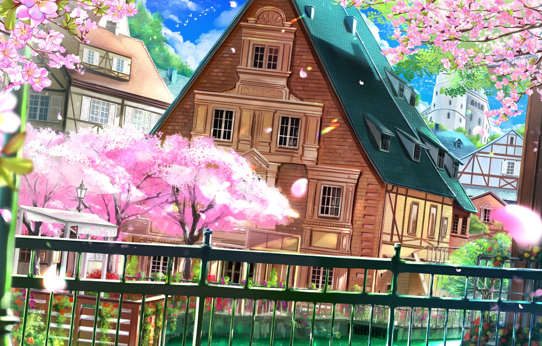 Фото обои провода, забор, голубое небо, деревянный дом, цветение весной, весенний ветерок