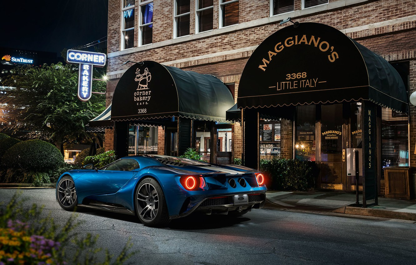 Фото обои Ford GT, supercar, cafe, Grand Turismo