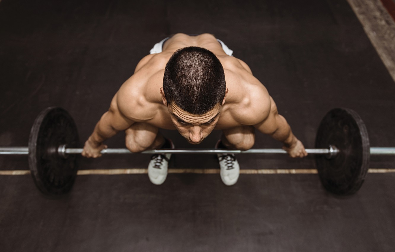 Фото обои man, training, weightlifting