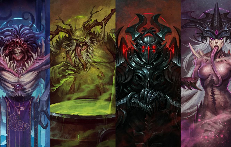 Фото обои Warhammer, chaos, Tzeentch, gods, Nurgle, Slaanesh, Khorne