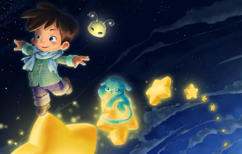 Фото обои звёзды, арт, маленький принц, детская, Anastas Ermolina, фэниези, Heavenly dream