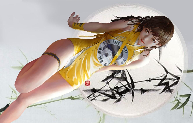Фото обои взгляд, девушка, поза, фон, бамбук, арт