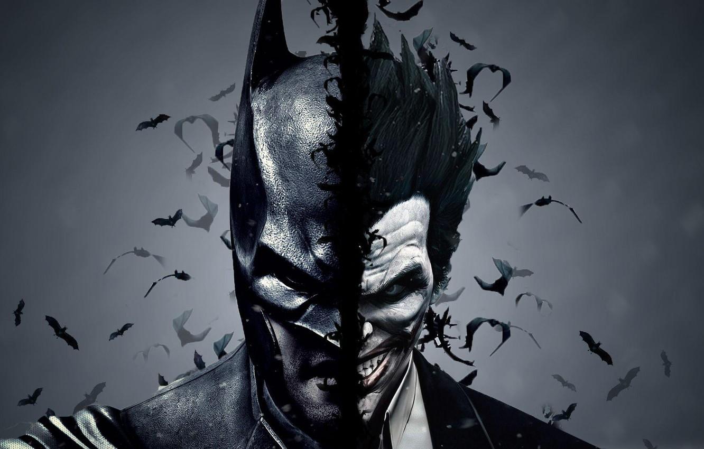 Фото обои Batman, joker, dual monitor, тёмный фон
