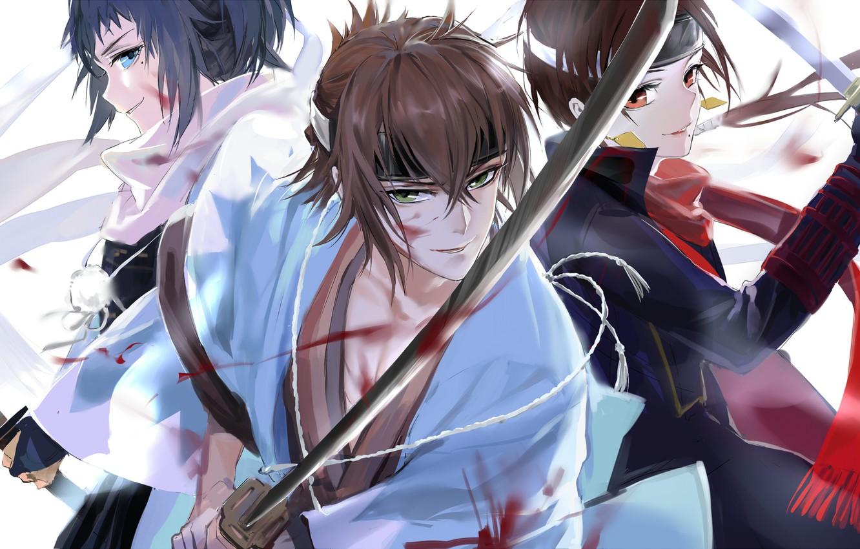 Фото обои катана, японская одежда, Okita Souji, спина к спине, три парня, touken ranbu, Танец мечей, Kashuu …