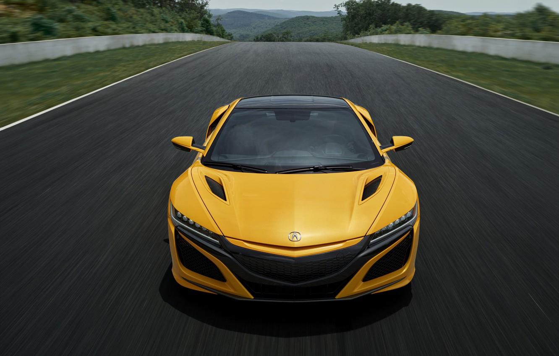Фото обои жёлтый, купе, Honda, трек, Acura, NSX, 2020