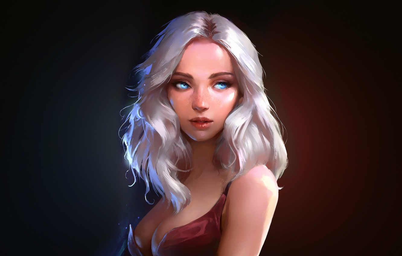 Фото обои Girl, cleavage, dress, breast, art, blue eyes, lips, painting, digital art, artwork, chest, portrait, white …