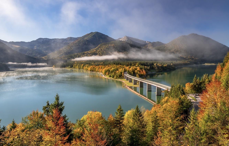 Фото обои осень, лес, деревья, горы, мост, озеро, Германия, Бавария, Germany, Bavaria, Bavarian Alps, Баварские Альпы, Sylvenstein …