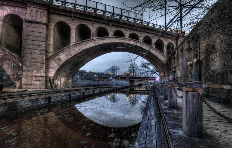 Фото обои Pennsylvania, Philadelphia, Glen Willow, Manayunk Evening