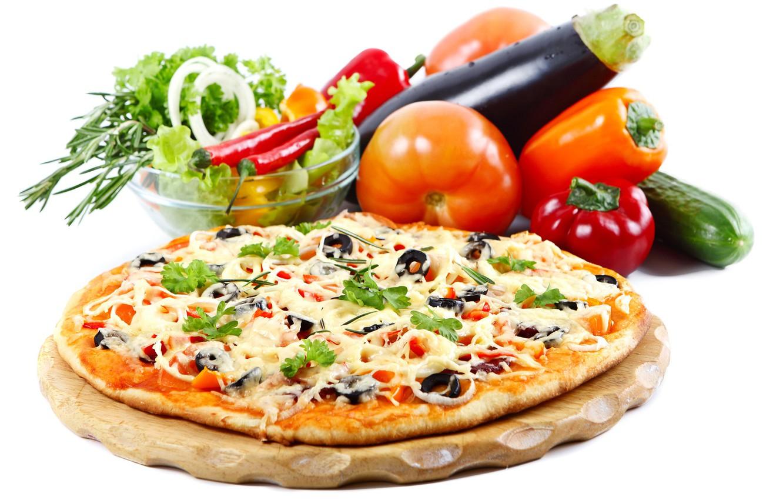 Фото обои сыр, пицца, помидоры