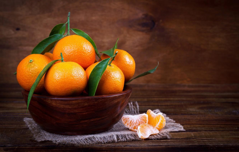 Фото обои фрукты, листики, мандарины