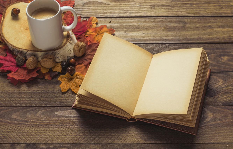 Фото обои осень, листья, фон, дерево, кофе, colorful, шарф, чашка, книга, доска, wood, background, autumn, leaves, cup, …