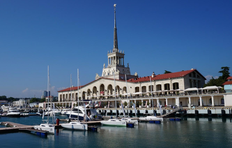 Фото обои море, вокзал, корабли, порт, черное море, строение, сочи, морской порт