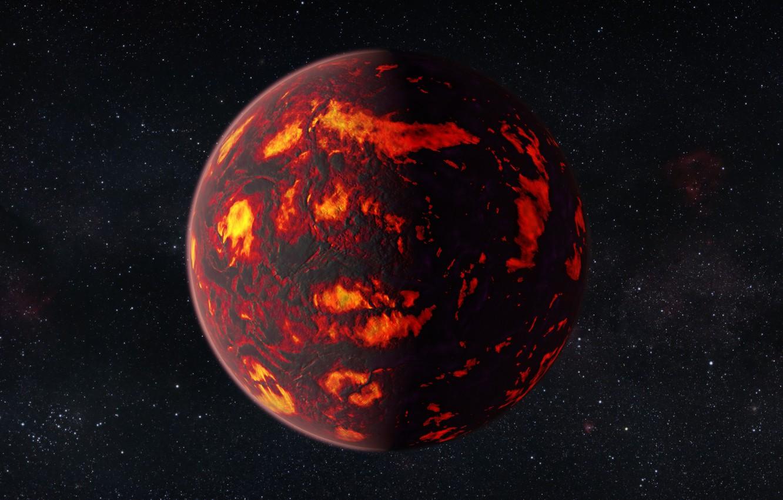 Фото обои фото, огонь, планета, арт, лава