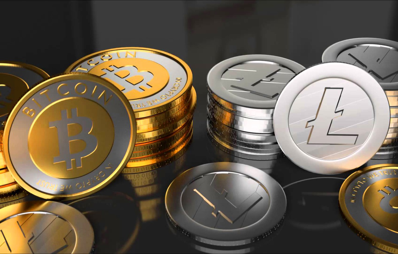 Фото обои монеты, fon, coins, bitcoin, btc, litecoin, ltc