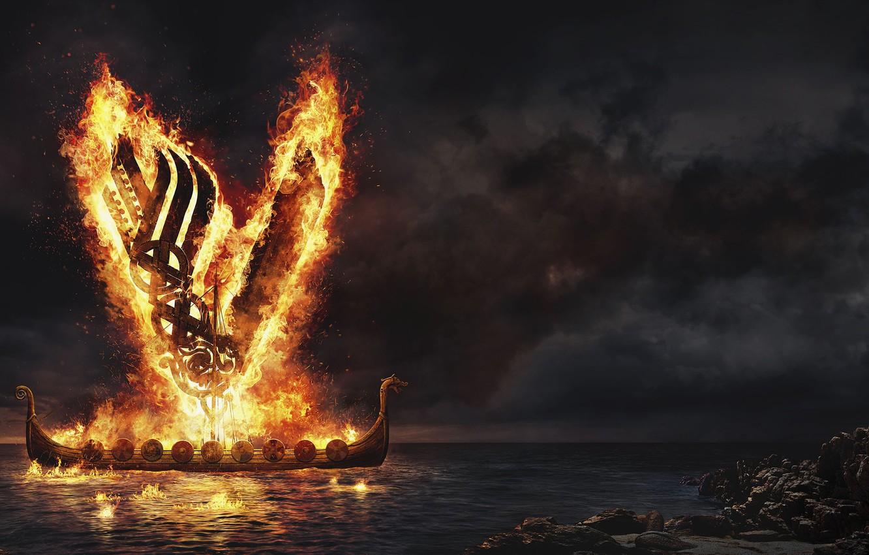 Фото обои море, ночь, огонь, викинги, vikings, драккар