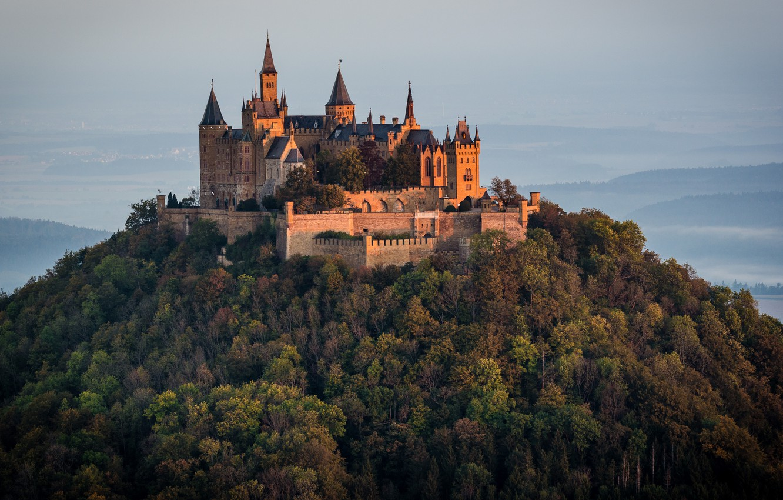 Фото обои пейзаж, природа, замок, гора, Германия, леса, Гогенцоллерн, Hohenzollern, башенки