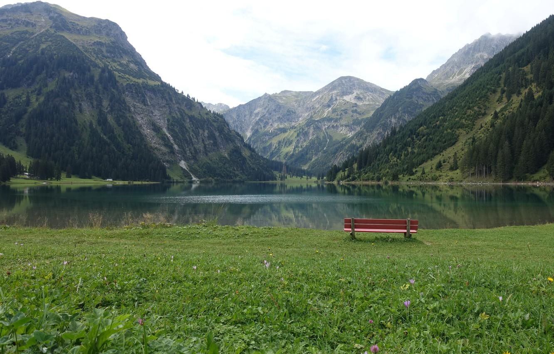 Фото обои горы, скамейка, озеро, луг, Южная Германия, Алльгой, Аllgau