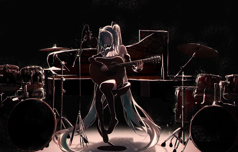 Фото обои девушка, музыка, Вокалоид, Хатсуне Мику