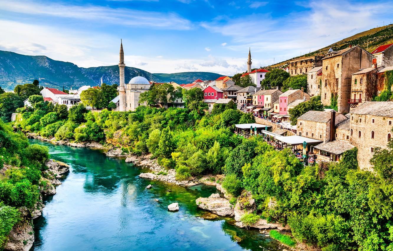 Фото обои река, дома, мечеть, Босния и Герцеговина, Мостар