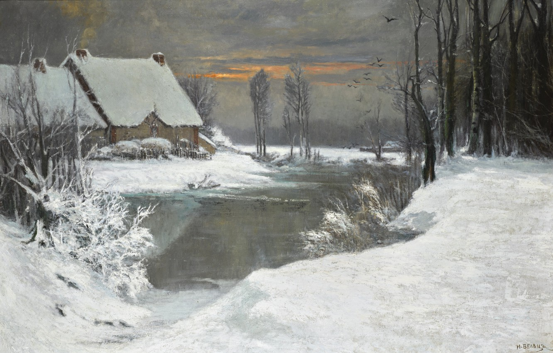 Фото обои снег, деревья, закат, птицы, дом, река, кусты, WINTER LANDSCAPE, Attributed to Ivan Avgustovich Veltz