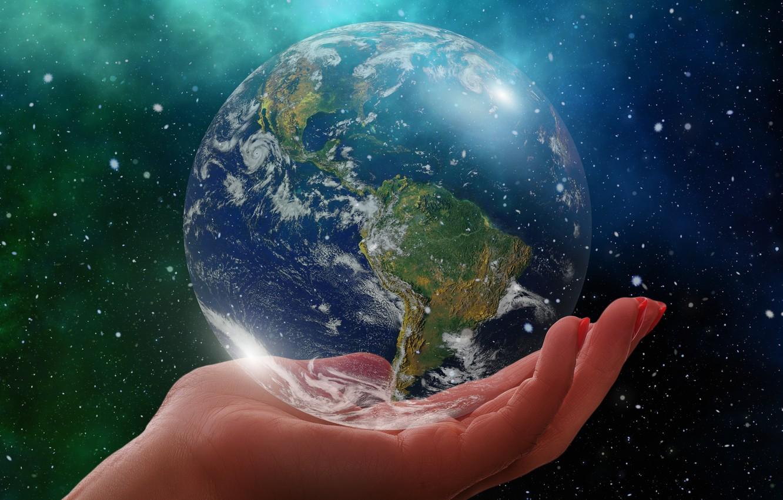 Фото обои планета, Земля, ладонь