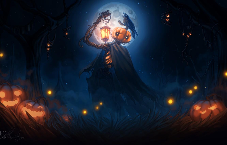 Фото обои lights, dark, Halloween, moon, grass, fantasy, forest, sky, trees, crow, night, dusk, night sky, holiday, …