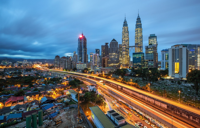 Фото обои дорога, машины, город, Малайзия, Куала-Лумпур