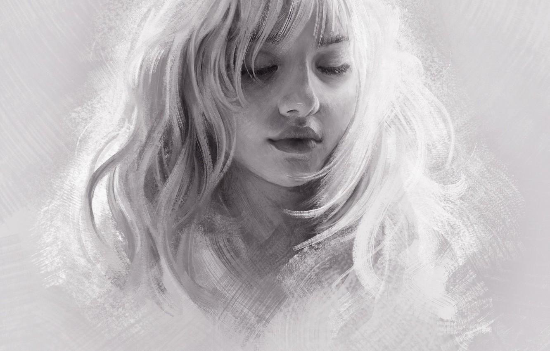 Фото обои Девушка, Рисунок, Блондинка, Girl, Волосы, Арт, Art, Blonde, Hair, Artist, Художник, Mandy Jurgens, Закрытые глаза, …
