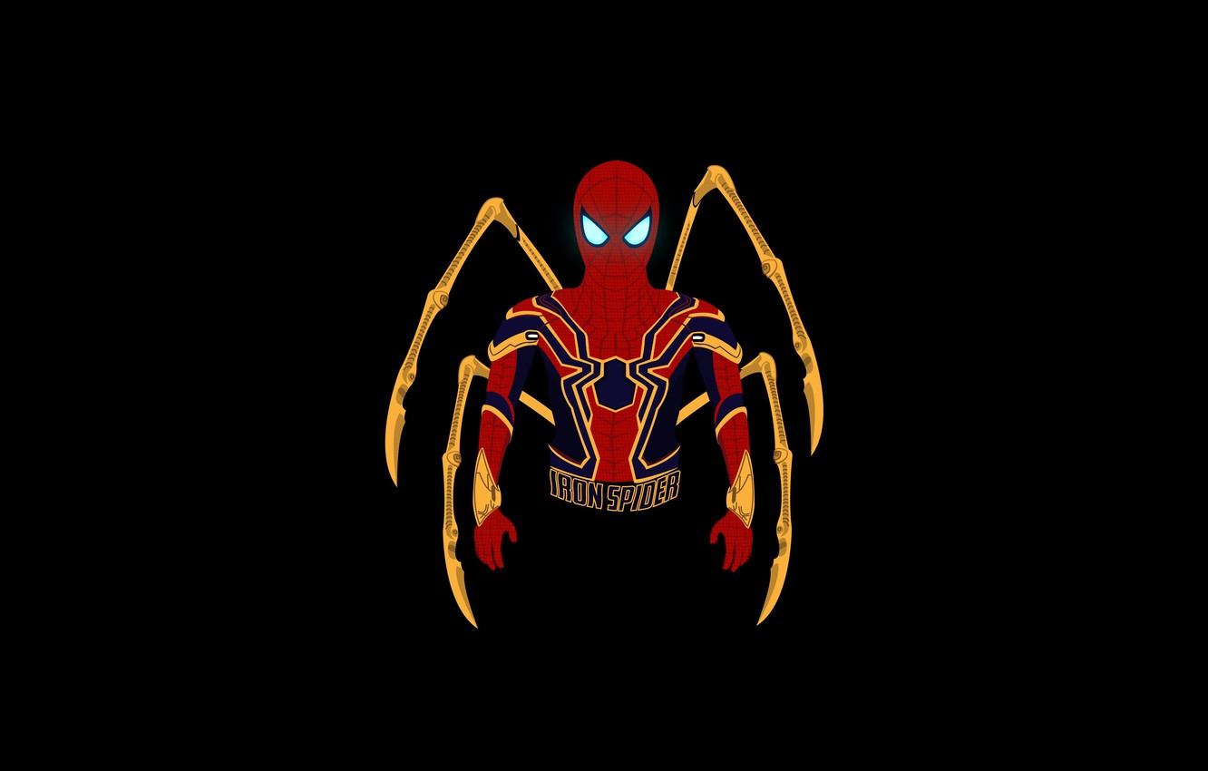 Фото обои minimal, Marvel Comics, Spider-Man, dark background, Iron Spider, HD, железный паук