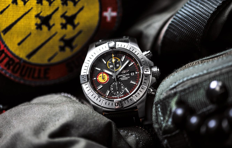 Фото обои Breitling, chronometer, Swiss Luxury Watches, швейцарские наручные часы класса люкс, analog watch, Брайтлинг, Swiss Air …