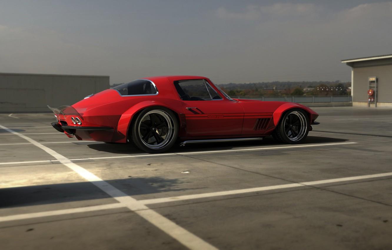 Фото обои Красный, Авто, Corvette, Ретро, Машина, 1967, Рендеринг, Rostislav Prokop, by Rostislav Prokop, Corvette 1967