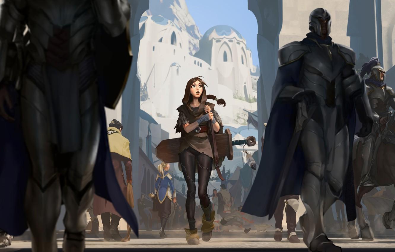Фото обои city, Girl, sword, fantasy, soldiers, armor, weapon, street, people, animal, horse, digital art, buildings, artwork, …