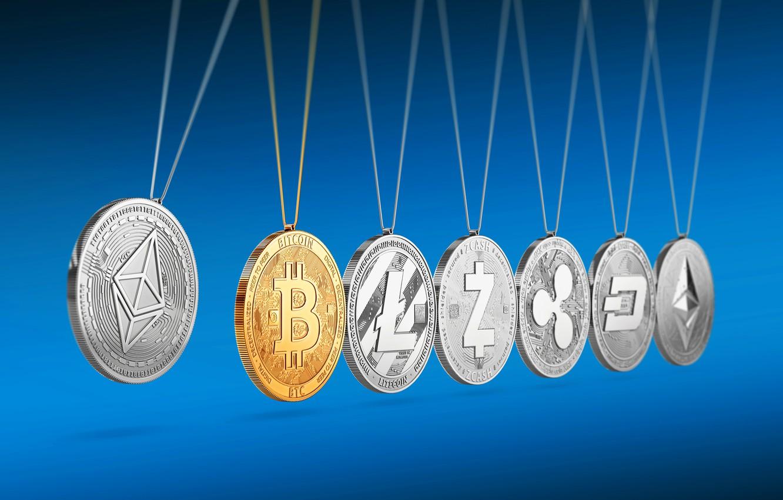 Фото обои размытие, тени, blue, fon, coins, dash, etc, bitcoin, ripple, eth, btc, xrp, litecoin, ltc, ethereum, …