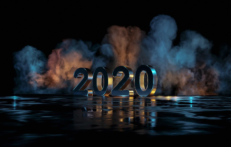 Фото обои отражение, дым, рождество, new year, 2020, новый год 2020, new year 2020