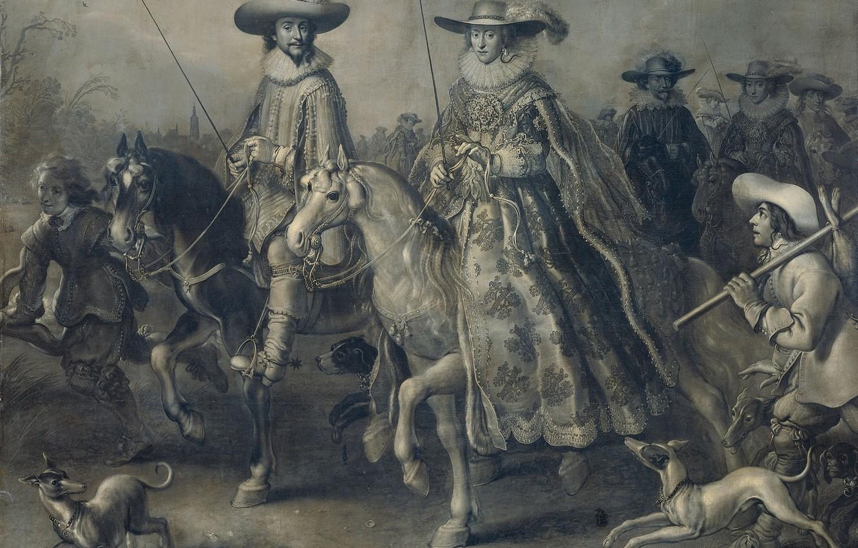 Фото обои масло, картина, холст, 1628, Адриан ван де Венне, Adriaen van de Venne, и Его Жена …