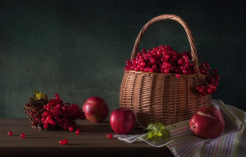 Фото обои ягоды, яблоки, корзинка, калина