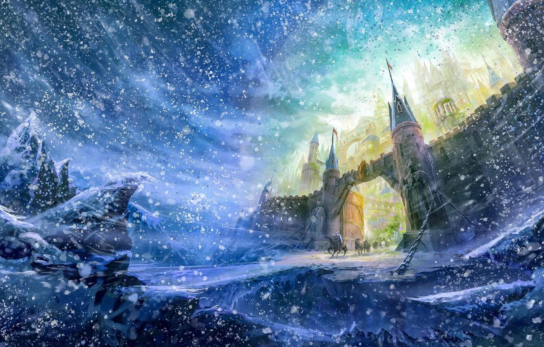 Фото обои зима, замок, стена, ворота, wall, всадники, снегопад, winter, castle, snowfall, fantasy art, gate, riders, фэнтези …