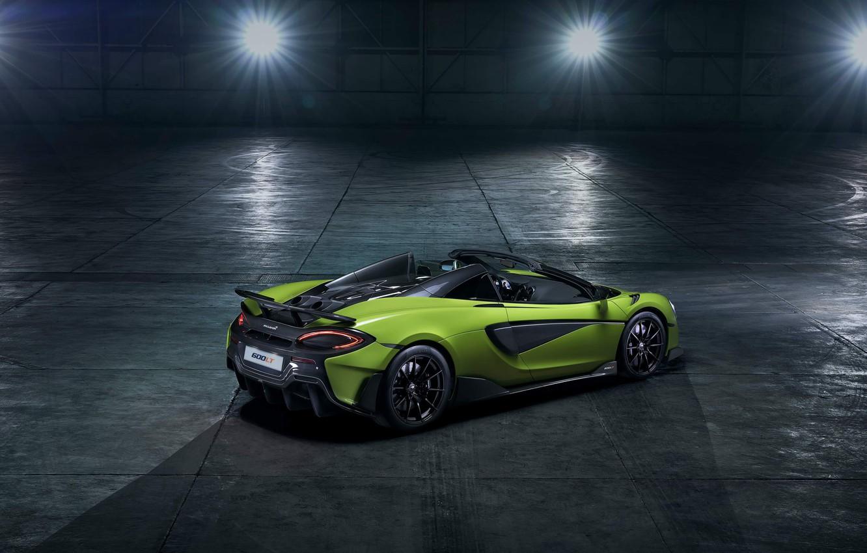 Фото обои машина, свет, стиль, ангар, фонари, родстер, спорткар, диски, McLaren 600LT Spider