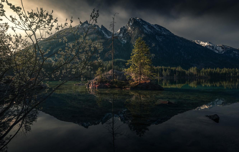 Фото обои горы, природа, озеро, весна, Германия