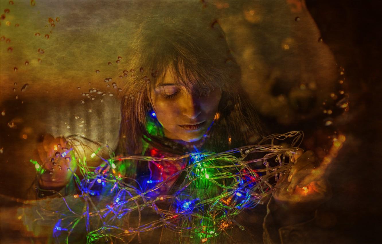 Фото обои lights, girl, beautiful, hair, look, Kide Fotoart