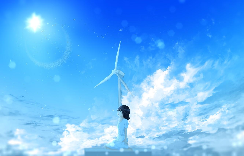 Фото обои лето, небо, солнце, ветряк, девочка, счастливая