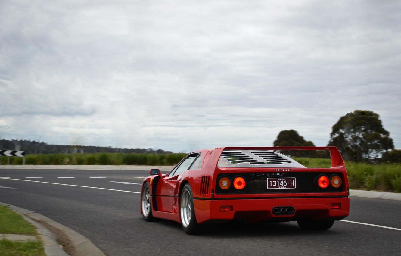 Фото обои F40, Road, Supercar, Red Car