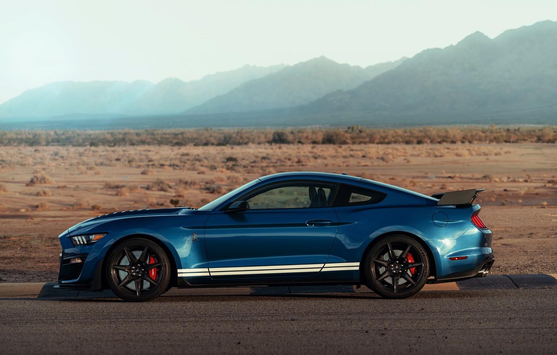 Фото обои синий, Mustang, Ford, Shelby, GT500, вид сбоку, 2019