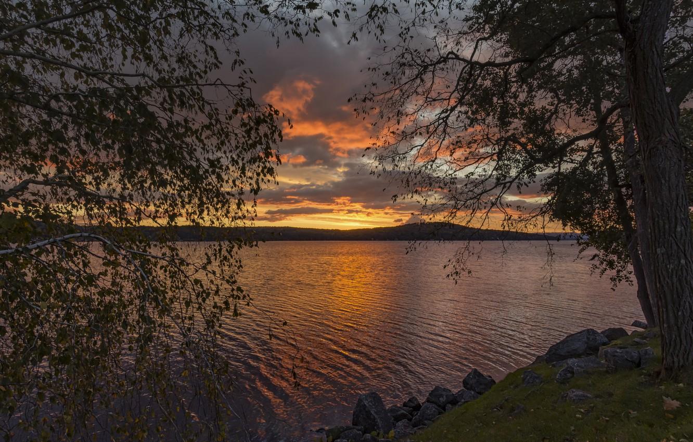 Фото обои закат, отражение, река, вечер, берега