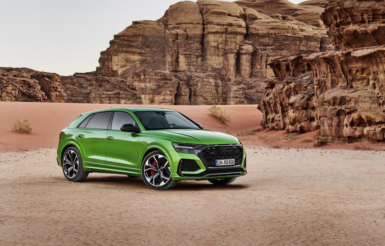 Фото обои Audi, пустыня, кроссовер, 2020, RS Q8