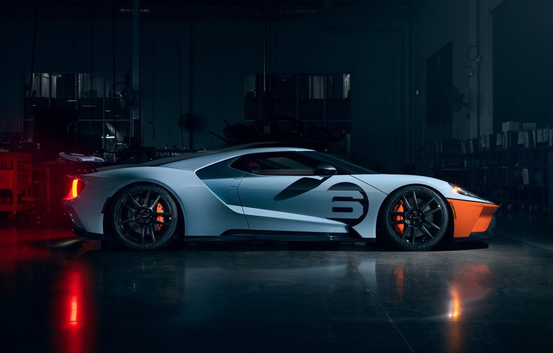 Фото обои Ford, Форд, суперкар, Ford GT, supercar, 2020, Ford GT Gulf Racing Heritage Edition