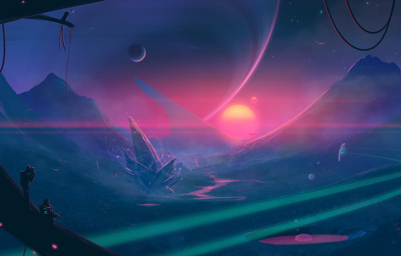 Фото обои moon, fantasy, science fiction, mountains, sun, spaceship, sci-fi, artist, digital art, artwork, alien world, fantasy …