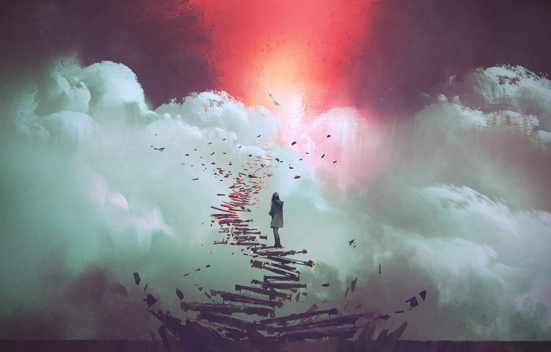 Фото обои Girl, Sky, Art, Step
