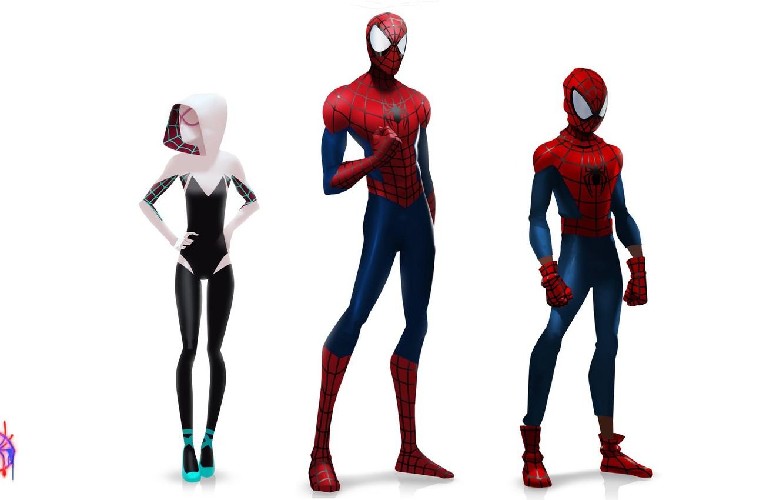 Фото обои человек-паук, spider-man, concept, peter parker, gwen stacy, Гвен Стейси, Spider-Man: Into the Spider-Verse, через вселенные