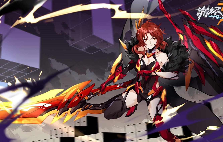Фото обои девушка, оружие, игра, аниме, мех, броня, Honkai Impact 3rd